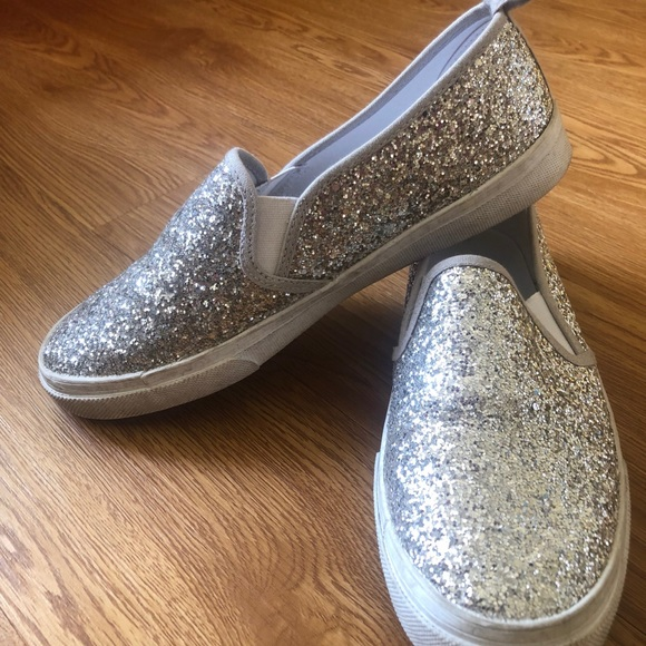 Silver Sparkly Glittered Slip Ons